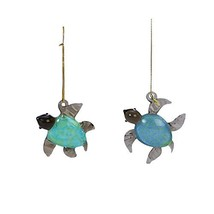 2 Glass Sea Turtle Christmas Ornaments