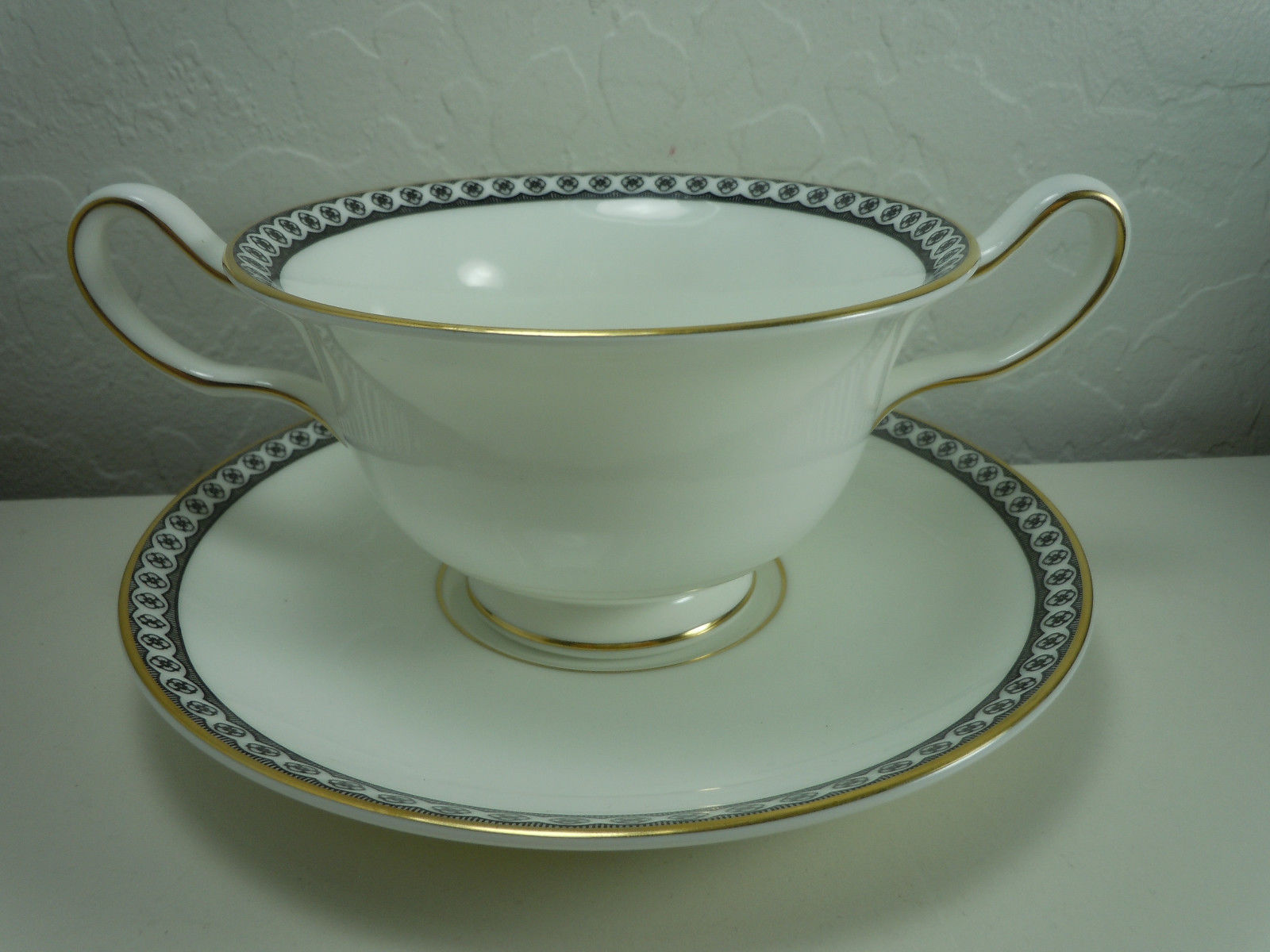 Wedgwood Ulander Black Cream Soup and Saucer Set