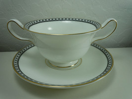Wedgwood Ulander Black Cream Soup and Saucer Set image 1