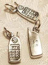 Cell Phone Sterling Silver  Charm  STAMPED .925 Cordless Telephone 925 image 1