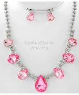 Sparkling Pink crystals tear drop necklace set prom wedding bride brides... - $21.77