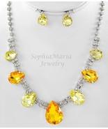 Sparkling Yellow crystals tear drop necklace set prom wedding bride brid... - $22.76