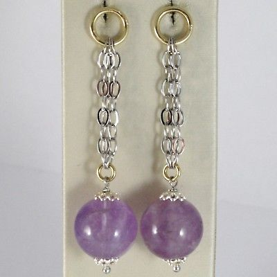 925 STERLING YELLOW SILVER PENDANT EARRINGS WITH BIG AMETHYST BALLS SPHERE, ROLO