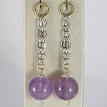 925 STERLING YELLOW SILVER PENDANT EARRINGS WITH BIG AMETHYST BALLS SPHERE, ROLO image 1