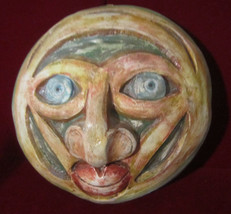 Soulful Primitive Modern Ceramic Mask Art Colorful Signed & Dated by Artist - $52.00