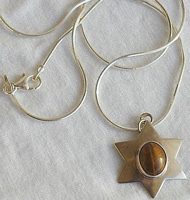 Brown cat eye David Star pendant