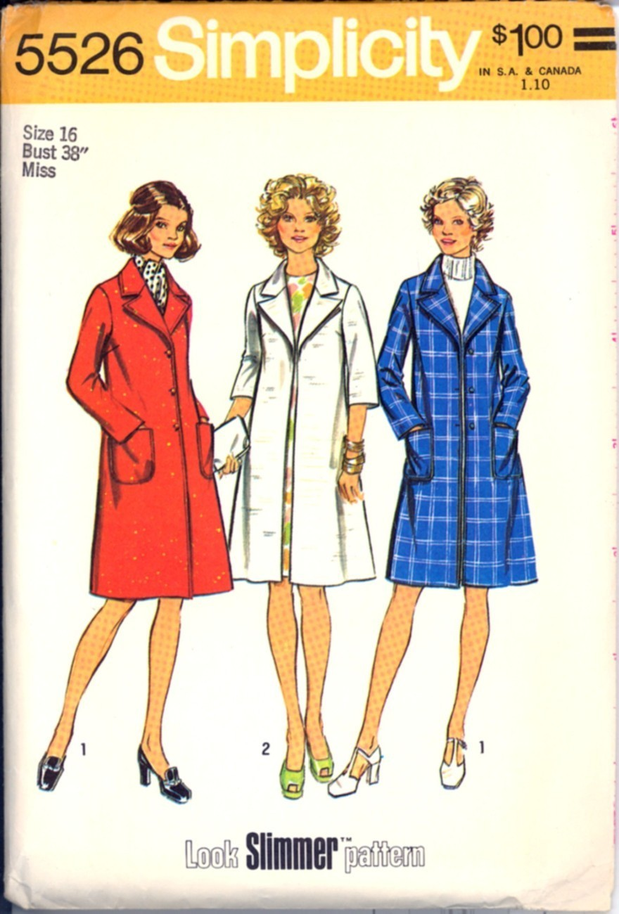 Uncut 1970s Size 16 Bust 38 Look Slimmer Lined Coat Simplicity 5526 Pattern