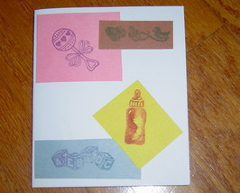 Welcome for Baby Card, Handcrafted scrap happy card - $4.95