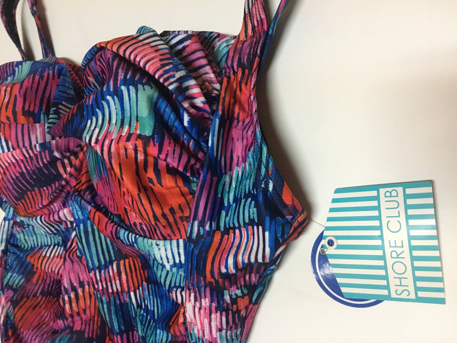 Shore Club Swimsuit Sz 20 NWT One Piece Multi-Color Lightly Padded