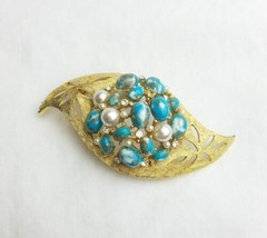 Vintage B.S.K leaf blue white gold cabochon brooch beads - $24.75