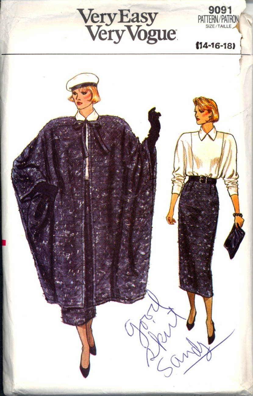 Primary image for 1980s Size 14 16 18 Coat Skirt Blouse Vogue 9091 Pattern Cape Bust 36 38 40
