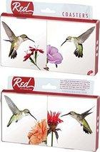 Hummingbirds in Flight Flowers 4 Piece Absorbent Ceramic Coaster Set