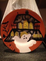 Laurie Gates Ware Halloween Haunted House Ghosts Black Cats Plate Candy ... - $22.99