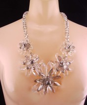 Statement necklace / Runway jewelry / crystal faceted bib / Drag queen /... - $155.00