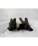 "2 Grasshopper insect Finger 4.5"" long Green & Black puppets - $8.90"