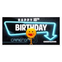 Neon Emoji Birthday Banner Personalized Custom Party Backdrop Decoration - $22.28+