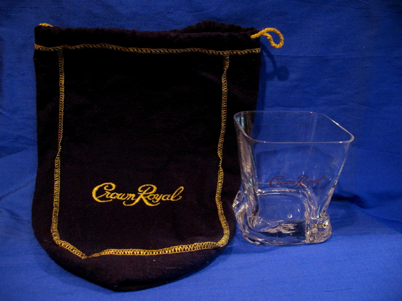 Crown Royal Whisky Glass with Purple Bag Canada Whiskey Souvenir Square Tumbler
