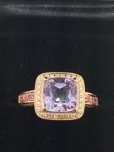 LEVIAN 14K Rose Gold Amethyst Pink Sapphire and Diamond Ring (Size 6) - $720.00