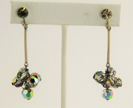 VINTAGE Jewelry RETRO DANGLE AB SILVER CRYSTAL CLIP EARRINGS SIGNED CELE... - $8.00