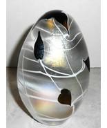 IRIDESCENT ART GLASS PURPLE HARTS  EGG SHAPE PAPPER WEIGHT - $49.49