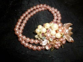 Vintage Haskell Style Pink Pearl and Rhinestone Layered Bracelet - $23.22