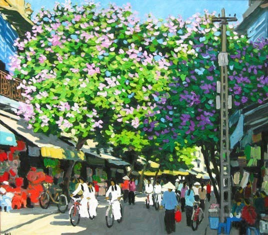 "Hanoi old quarter, 24""x32"" Vietnamese actual hand painted orig"