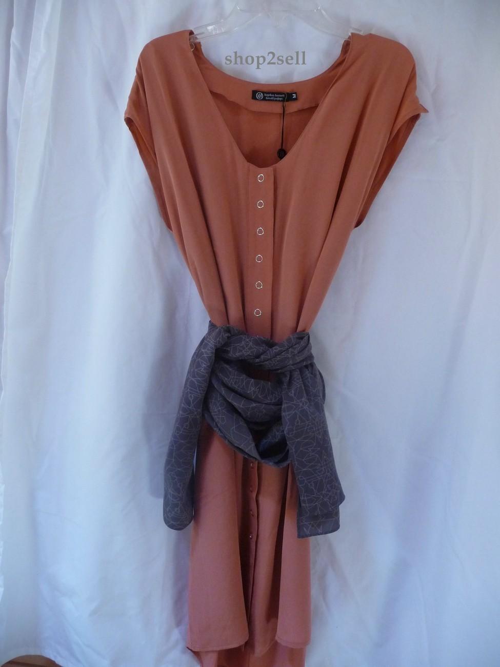 Hayden Harnett Silk Bibliotheque Dress Medium New  Sunset