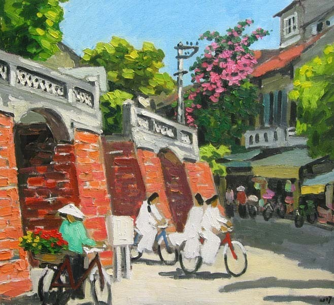 "The Old Gate in Hanoi, 24x32"" Vietnamese actual hand painted"