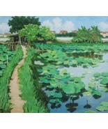 "Lotuses in West Lake, 24""x28"" Vietnamese hand painted oil painting - $299.00"