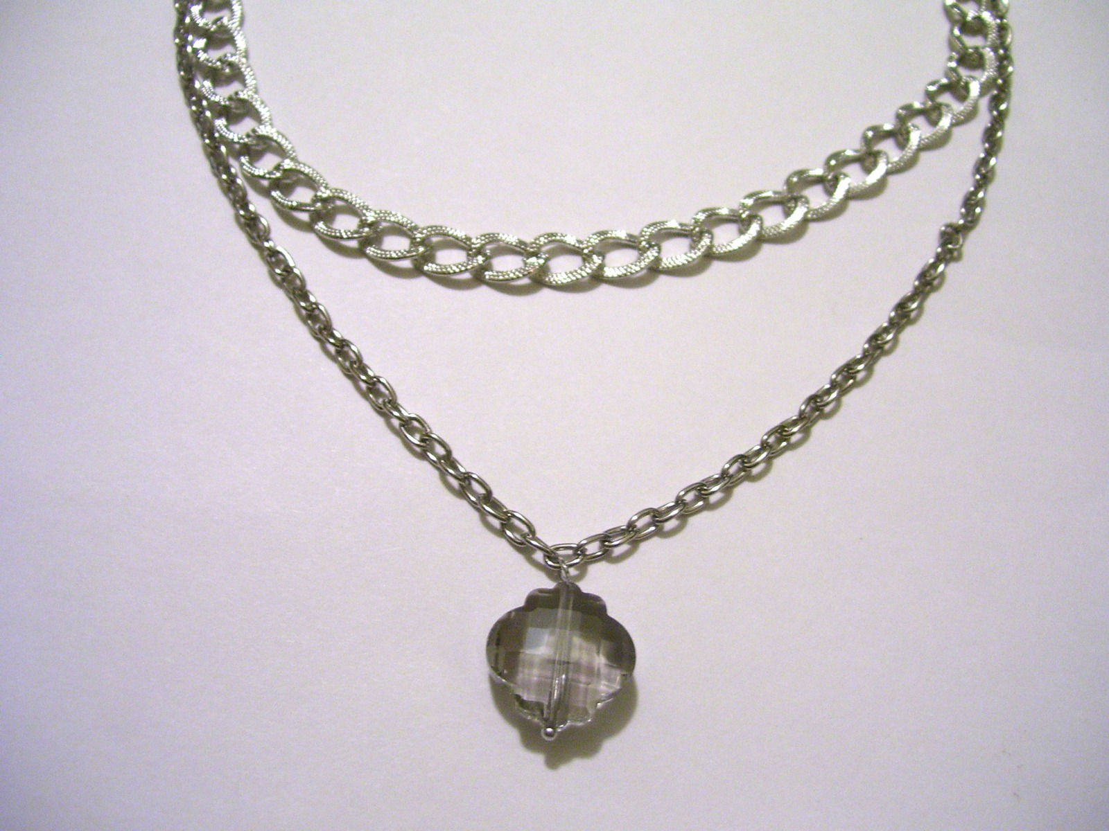 Smokey Gray charme on a double chain Silver Necklace