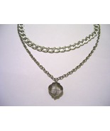 Smokey Gray charme on a double chain Silver Nec... - $17.00