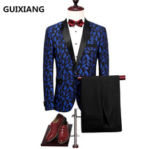 jacket+pants 2017 high quality leaves pattern single button wedding suit... - $159.90