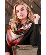 Orange Plaid Blanket Scarf - $14.00