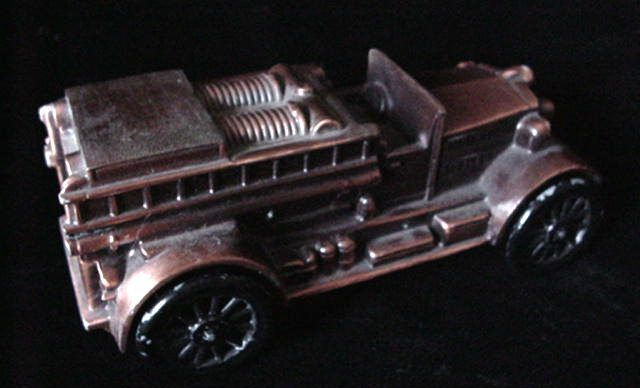 Old Banthrico 1924 Ahrens Fox Fire Truck Engine Coin Bank
