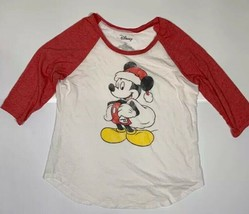 Womens Disney Mickey Mouse Santa ¾ sleeve Size 2XL White Heather Red - $12.73