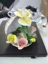 Vintage Nuova Capodimonte Porcelain Shell with Roses - $27.55