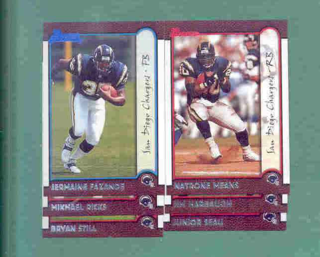 1999 Bowman San Diego Chargers Football Team Set