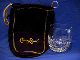 Crown Royal Whisky Glass with Purple Gift Bag Round Tumbler Canadian Sou... - $9.99