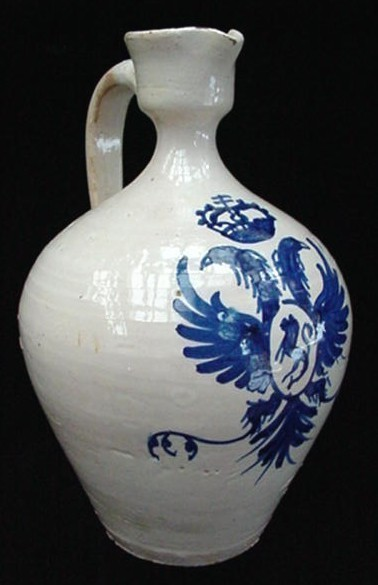 Antique Toledo Art Pottery Jug w/Cobalt Blue Design