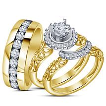 14k Yellow Gold Finish 925 Real Silver Mens Womens Wedding Diamond Ring Trio Set - £101.32 GBP