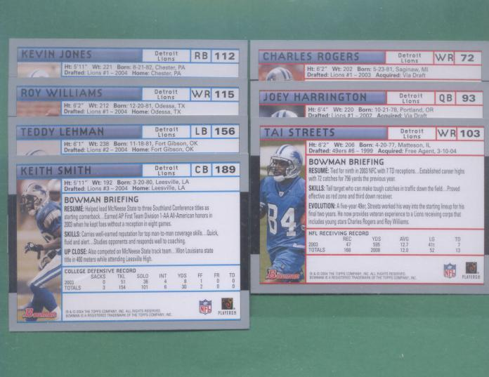 2004 Bowman Detroit Lions Football Set
