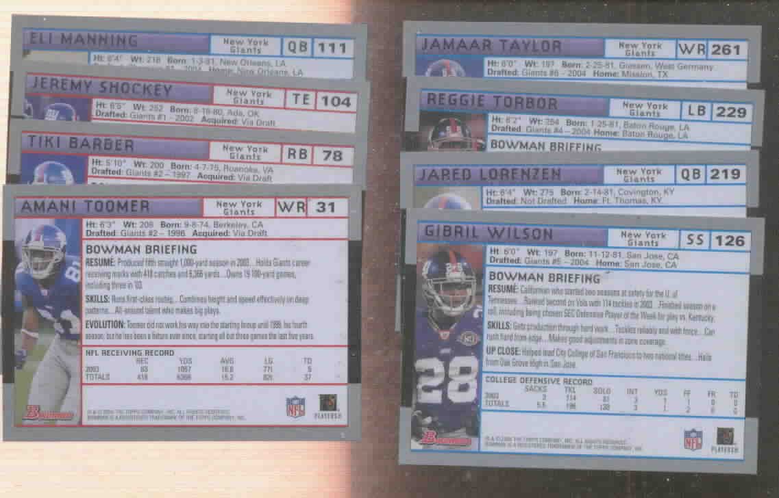 2004 Bowman New York Giants Football Team Set