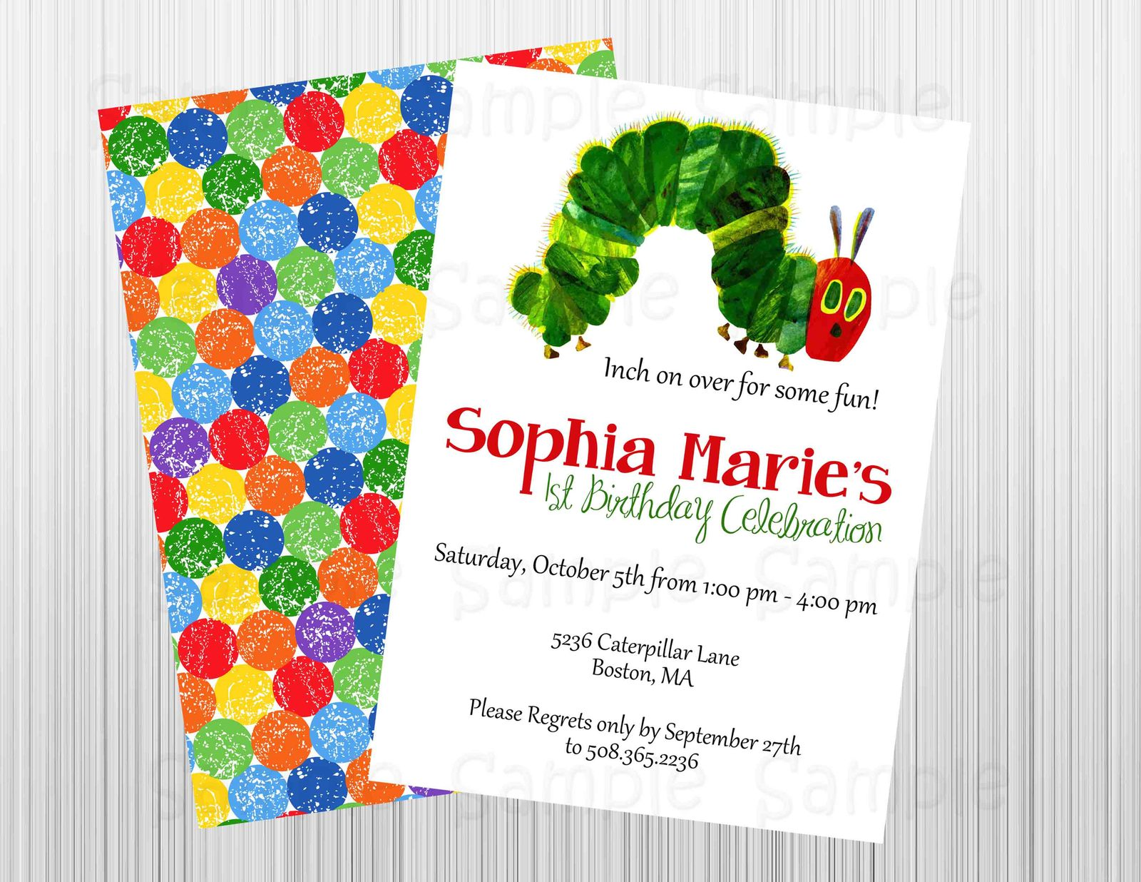 Hungry Caterpillar Birthday/Baby Shower Invitation Printable,Front & Back for sale  USA