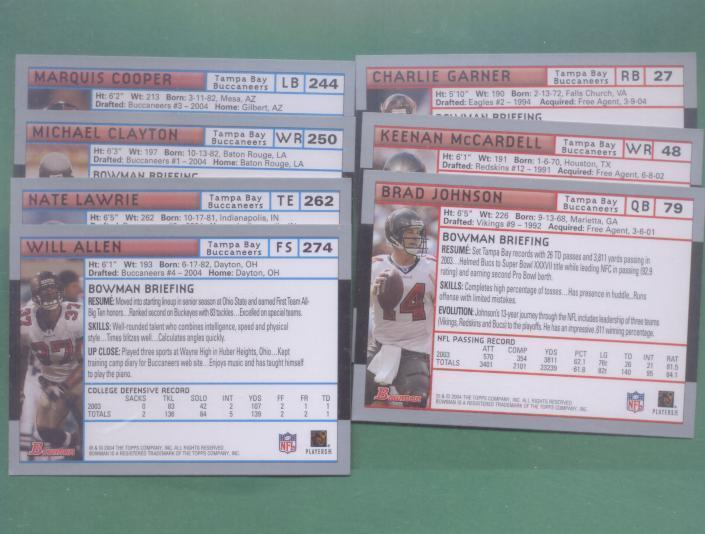2004 Bowman Tampa Bay Buccaneers Football Team Set
