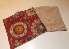 Pair of Burgundy Gold Abstract Decorative Print Throw Pillows  12 x 12 - $29.95
