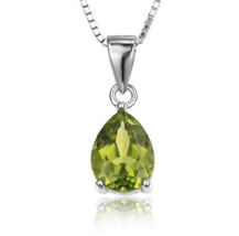 925 Sterling Silver Natural Green Peridot Solitaire Pendant Necklace - $29.69