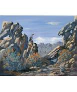 Chukar Partridge Desert Landscape Original Realistic Oil Painting - $165.00