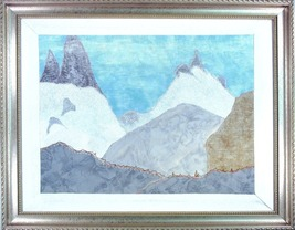 An item in the Art category: Mountain Pass: Quilted Art Wall Hanging