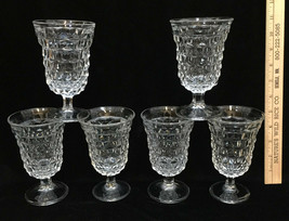 Fostoria American Wine Glasses Water Clear Glass Cube Set 6 Vintage Footed  - $49.45