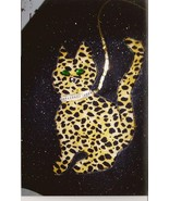 Leopard Print Cat w/ Green Jeweled Eyes and Rhi... - $15.99